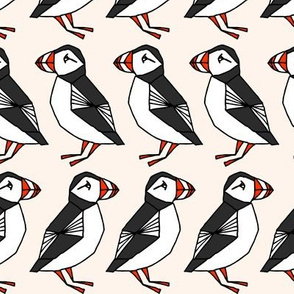 puffin // champagne cream background birds bid rows cute winter