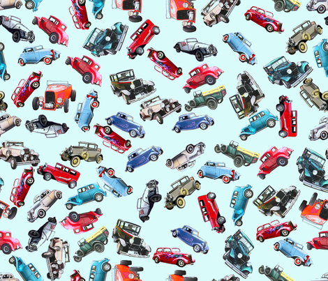 Blue ditsy vintage cars3 fabric by koalalady on Spoonflower - custom fabric