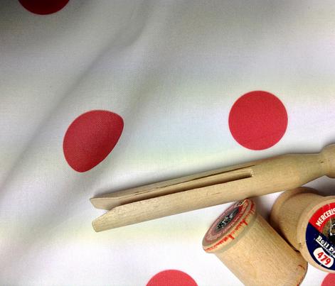 Polka Dot - Red on White