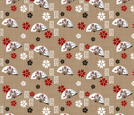 Fan_beige fabric by melimiliá on Spoonflower - custom fabric