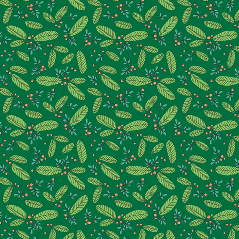 Ditsy Retro Branch - Forest fabric by twobirdstone on Spoonflower - custom fabric