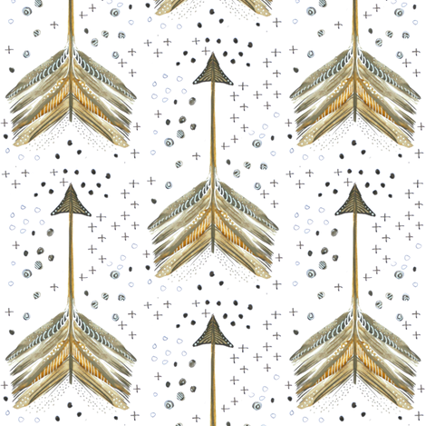 Watercolor Arrows in Neutrals fabric by emilysanford on Spoonflower - custom fabric