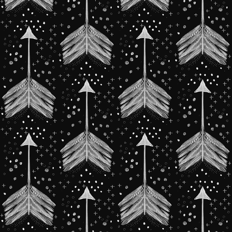 Watercolor Arrow in Charcoal fabric by emilysanford on Spoonflower - custom fabric