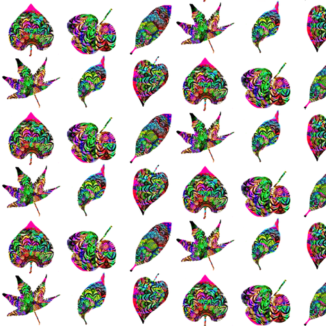 ZESTY RAINBOW LEAVES  fabric by dovetail_designs on Spoonflower - custom fabric