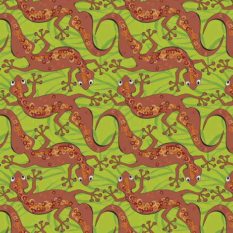 Gecko shuffle fabric by bippidiiboppidii on Spoonflower - custom fabric