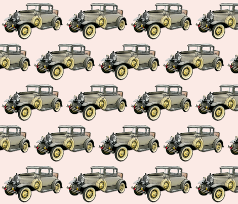 Pink Vintage Car 13 fabric by koalalady on Spoonflower - custom fabric