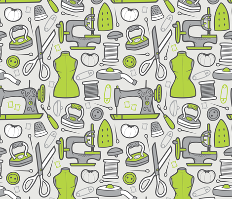 Sew, My Darling fabric by smashworks on Spoonflower - custom fabric