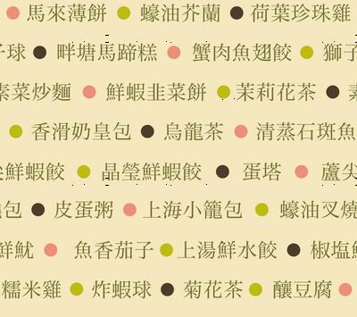 Chinese Dim Sum menu