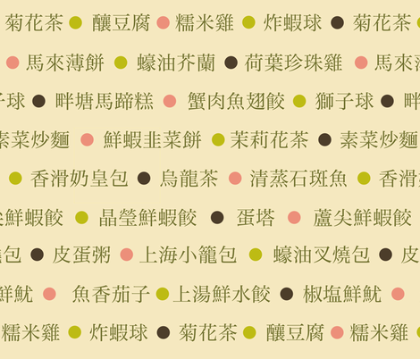 点心菜单 (Chinese Dim Sum menu) fabric by weavingmajor on Spoonflower - custom fabric