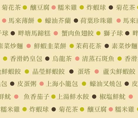 Chinese Dim Sum menu fabric by weavingmajor on Spoonflower - custom fabric