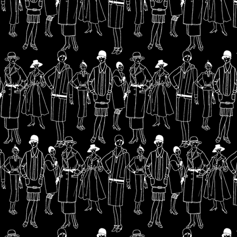 Fashion Parade, white on black fabric by glanoramay on Spoonflower - custom fabric