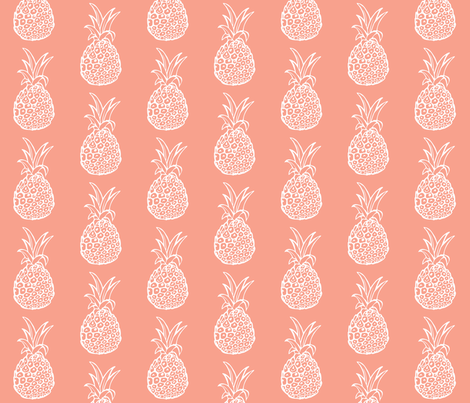 Pineapple Party in White on Coral fabric by theartwerks on Spoonflower - custom fabric