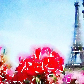 Fuchsia Flowers and the Eiffel Tower Watercolor