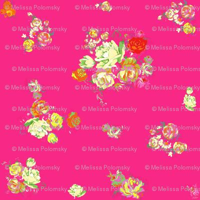 Elena's Vintage Floral on Hot Pink