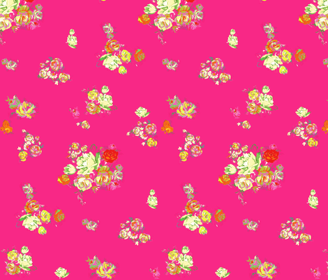 Elena's Vintage Floral on Hot Pink fabric by theartwerks on Spoonflower - custom fabric