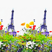 LARGE scale Spring in Paris Eiffel Tower Watercolor