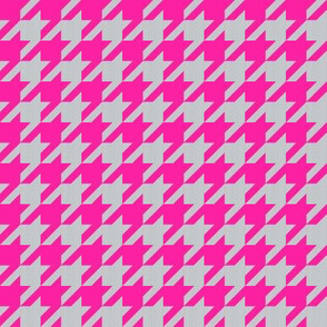 Houndstooth in Grey Linen + Neon Pink