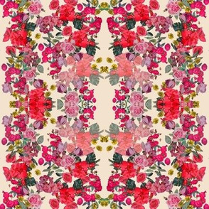 Antique Roses Floral Print, Off white, Smaller Scale