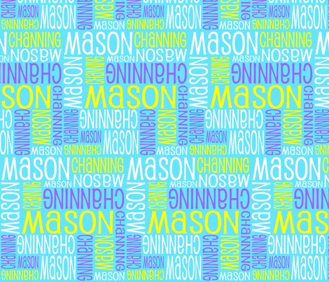 Personalised Name Fabric - Aqua Purple and Yellow fabric by shelleymade on Spoonflower - custom fabric
