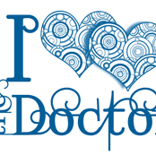 I double heart the doctor - blue on white