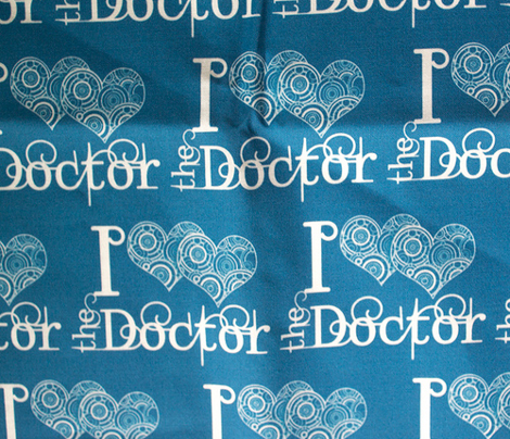I double heart the doctor - white on blue