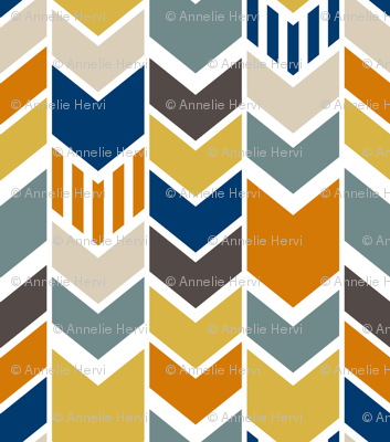 Custom Navy Yellow Chevron half scale