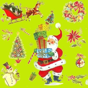 Ho Ho Happy on Lime! Vintage style Christmas Santa