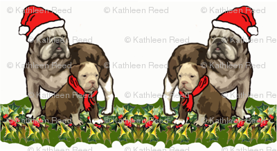 Christmas Holly and Bulldogs fabric