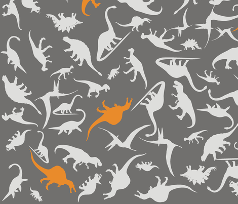 Dinorific Greyorange fabric by smuk on Spoonflower - custom fabric