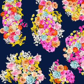 Bright Vintage Inspired Floral on Navy - Large Print
