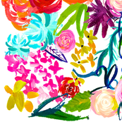 LARGE PRINT Colorful Floral Painting