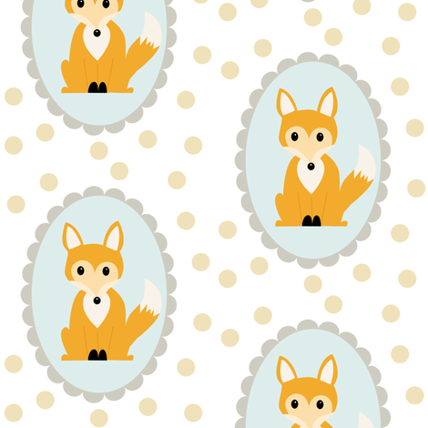 scalloped oval fox fabric by >>mintpeony<< on Spoonflower - custom fabric