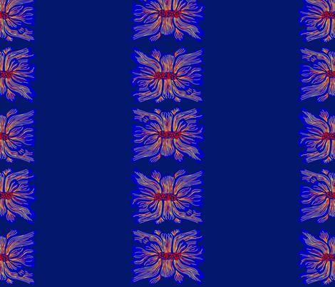 nepali flower stripes dark blue fabric by randomarticle on Spoonflower - custom fabric