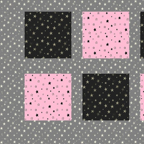 Grey and Pink Stars Patchwork Cheater Quilt