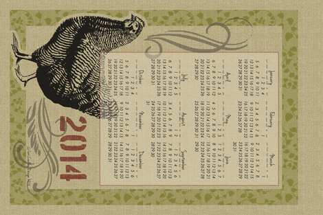 The Country Hen 2014 Calendar fabric by littlerhodydesign on Spoonflower - custom fabric