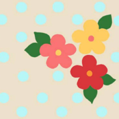 fall flowers w/polka dots