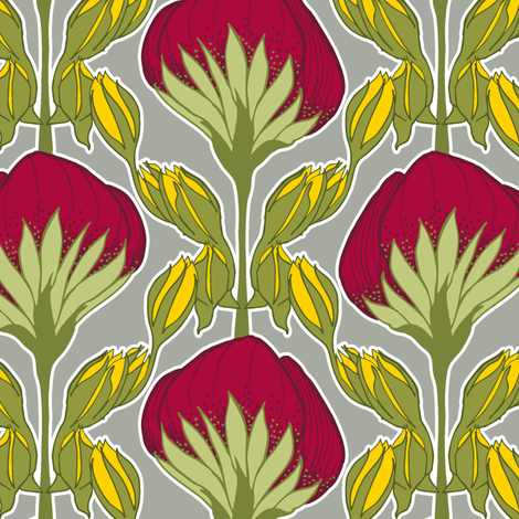 Flower Fans deep red fabric by modernprintcraft on Spoonflower - custom fabric