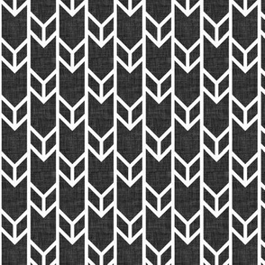 double chevron black linen