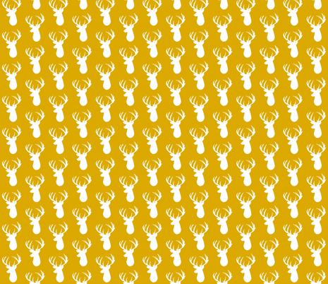 gold deer head fabric by ivieclothco on Spoonflower - custom fabric