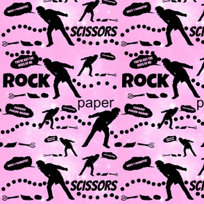 Rock, Paper, Scissors on girly pink