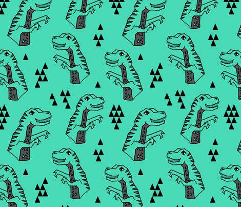 Dinosaur - Light Jade by Andrea Lauren fabric by andrea_lauren on Spoonflower - custom fabric