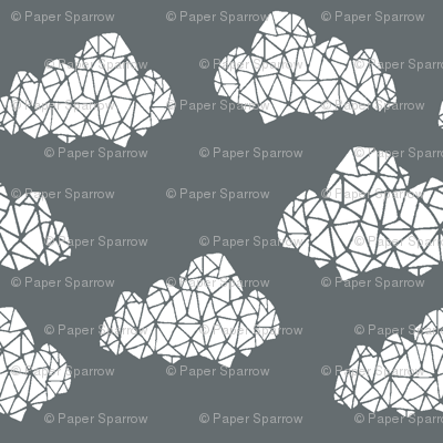 geo clouds // cloud design in geometrics on grey charcoal