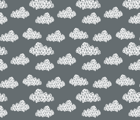 geo clouds // cloud design in geometrics on grey charcoal  fabric by andrea_lauren on Spoonflower - custom fabric
