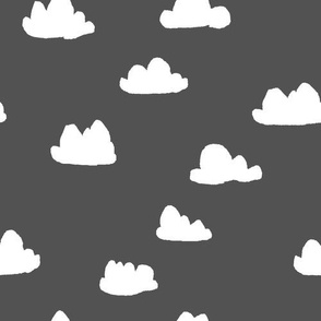 clouds // charcoal baby nursery design for home decor and textiles wallpaper