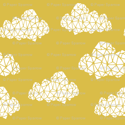 geo clouds // mustard yellow gender neutral geo hand-drawn cloud design for nursery and baby textiles and nursery decor
