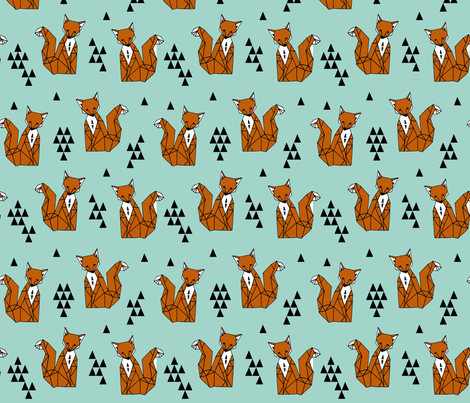 Geometric Sitting Fox - Pale Turquoise/Rust fabric by andrea_lauren on Spoonflower - custom fabric