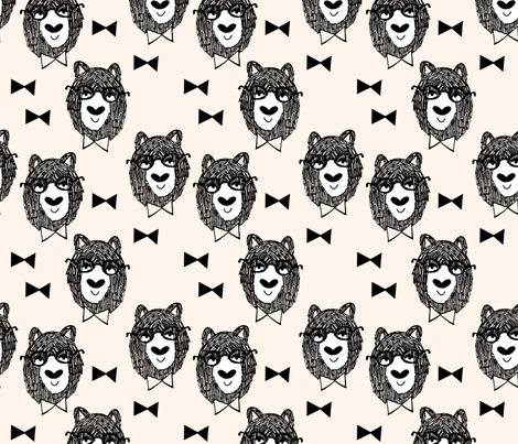 Bowtie Bear - Cream/Black/White fabric by andrea_lauren on Spoonflower - custom fabric