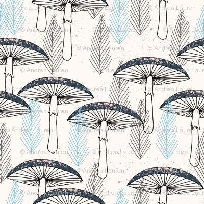 Fungus Forest - Cream/Soft Blue/Navy