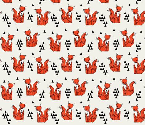 Geometric Sitting Fox - Vermillion fabric by andrea_lauren on Spoonflower - custom fabric