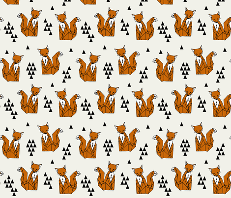 Geometric Sitting Fox - Champagne/Rust fabric by andrea_lauren on Spoonflower - custom fabric